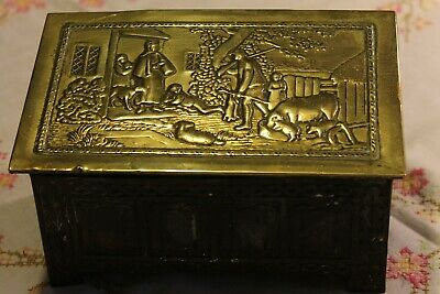£5 • Buy Jacob & Co Biscuit Tin Brass Top With Country Scene