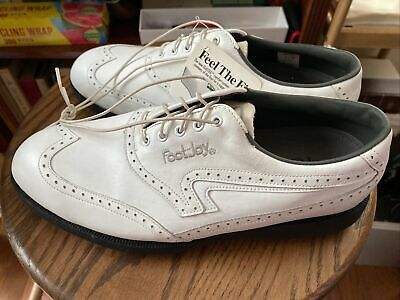 $36 • Buy VTG Footjoy TCX Golf Shoes White Leather Wing Tips Mens Size 9.5 W