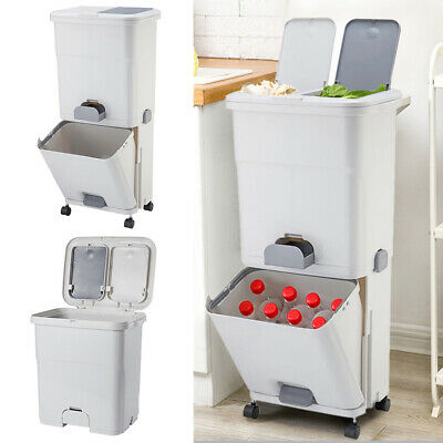 £38.95 • Buy Recycle Waste Bins Trash Garbage Kitchen Plastic Dual 3 Compartment Pedal Bin