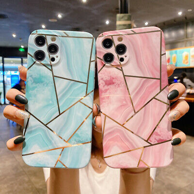 AU5.84 • Buy Geometry Marble Soft TPU Case Cover For IPhone 12 Pro Max 11 XS XR X 8 7 6S Plus