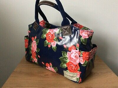 £8 • Buy NEW 'Forever England' Laminated Canvas Tote Bag Navy Blue - Red/Pink Rose Print