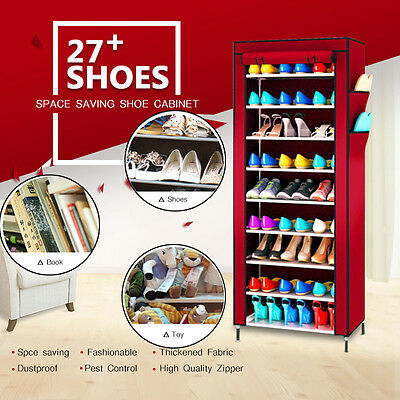 AU34.03 • Buy Shoe Rack Stackable Cabinet Storage Organiser Portable Wardrobe With Cover Stand