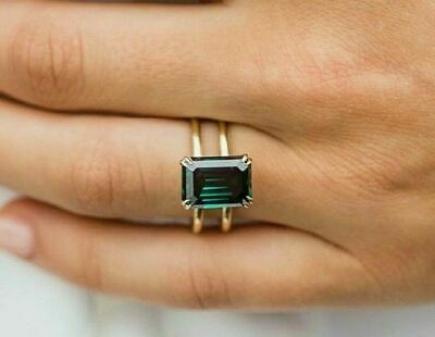 AU95.72 • Buy 9X7 MM Green Emerald Cut Diamond Double Band Solitaire Ring Yellow Gold Plated