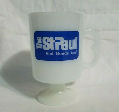 $19.99 • Buy Vintage The St Paul Insurance Bonds Milk Glass Coffee Mug Footed Cup 1979