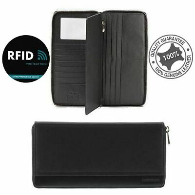 AU99.99 • Buy RFID Protected Travel Document Cards Wallet Genuine Soft Leather Black Cobb & Co