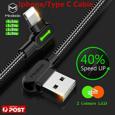 AU6.99 • Buy Mcdodo IPhone TYPE-C Cable Quick Charging Syn Charger IPhone 12 XR XS Samsung S8