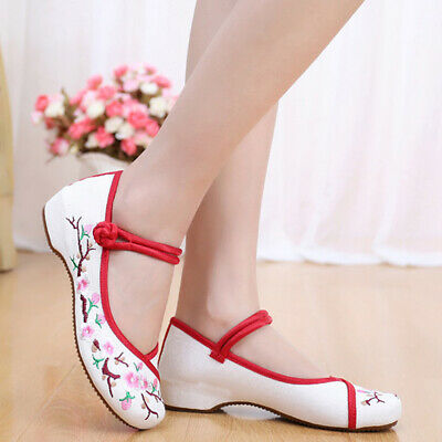 £7.81 • Buy NEW Women Canvas Shoes Chinese Embroidered Flower Oxfords Mary Jane Sandal
