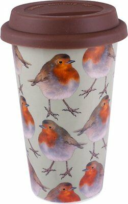 £12.99 • Buy Into The Wild CHRISTMAS ROBIN BIRD Travel Mug With Lid CERAMIC Double Walled Cup