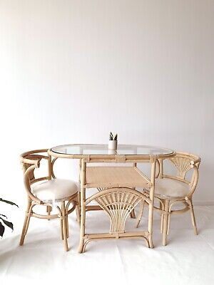 AU999.97 • Buy 🌱NEW  Rattan Breakfast Dining Chairs + Table ~ Bohemian Outdoor Cane Wicker🌿