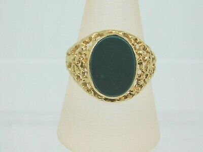 £195 • Buy 9ct Gold Oval Bloodstone Gents Signet Ring