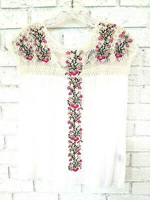 $ CDN43.89 • Buy Ranna Gill Anthropologie Sleeveless Embroidered Lace Tie Back Summer Top Size Xs