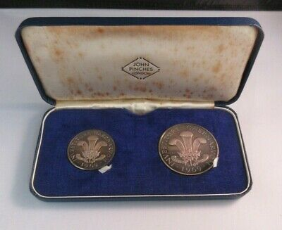 £129.99 • Buy Investiture Of Prince Charles 1969 2 Silver Proof Medal Set John Pinches Box/COA