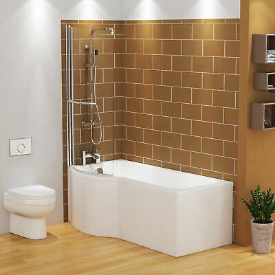 £345.99 • Buy 1500/1600/1700mm P Shaped Shower Bath Bathtub Front & End Panel Screen With Rail