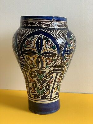£95 • Buy Large Antique Baluster Moroccan Fez Glazed Pottery Vase Early 20th Late 19th