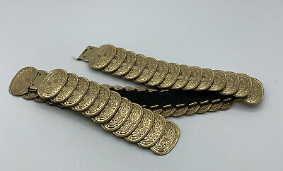 £13.96 • Buy Gold Tone Coin Medallion Fish Scale Stretch Belt Women's One Size 25 + Vintage