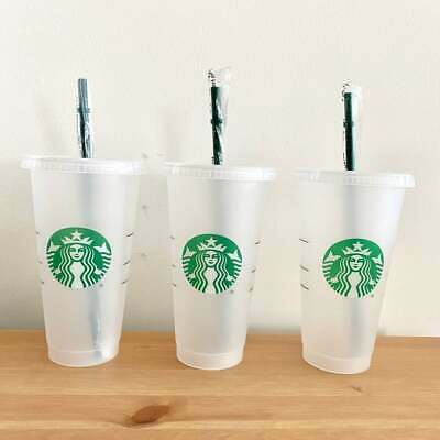 £13.50 • Buy Pack Of 3 And 5 Reusable Cold Cup Tumbler - Frosted W/ Lid & Straw 24oz