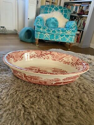 £35 • Buy NEW SPODE Cranberry Red Italian Large Oval Baking Serving Dish 31x23cm LAST ONE