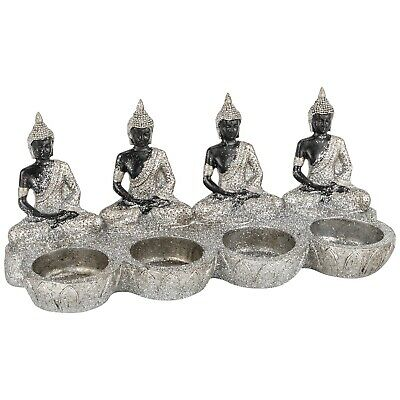 £16.99 • Buy Silver Sparkle 4 Sitting Buddha Black Glitter Four Tealight Holder Candle Gift
