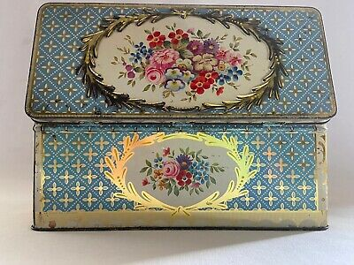 £550 • Buy Vintage JACOB'S Garland Biscuit Tin W. & R. Jacob Co . Flowers Duck Egg Blue Box