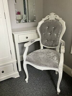 £90 • Buy Shabby Chic French Louis Style Chair Armchair White Grey Diamanté Upcycled