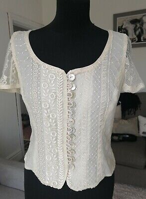 £15 • Buy Vintage Caroline Charles Cream Lace Top Lacy Evening Party Size 8