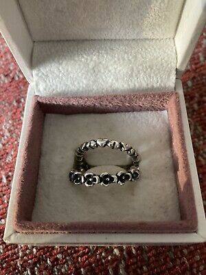 AU59 • Buy Pandora 2x 100% Authentic Stackable Rings Small Size 50 Pre- Owned