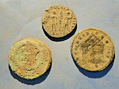 £12 • Buy 3  As Dug  Bronze Coins All With Detail Showing For Cleaning And Identification