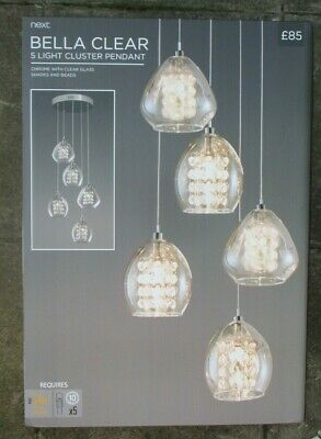 £82.99 • Buy Next Bella Clear 5 Light Cluster Pendant Chrome Clear Glass New & Boxed