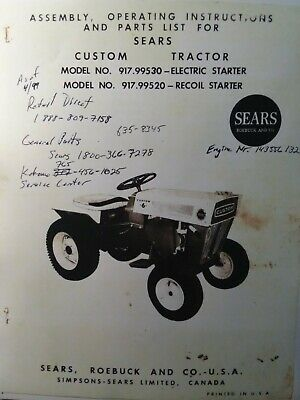 AU112.77 • Buy Sears Custom 6 Riding 600 Garden Tractor & Implements Owner & Parts (5 Manual S)