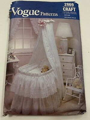 $14 • Buy Vogue 2869 Baby Bassinet Bedding Pattern Skirt Hood Cover Curtain Eyelet Lace