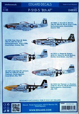 £8.50 • Buy Eduard Decals D48085 1/48 North-American P-51D-5 Mustang '8th AF