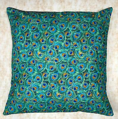 £8.99 • Buy Peacock Eye Feather Designer Cushion Cover Case Fits 18 X18  100% Cotton