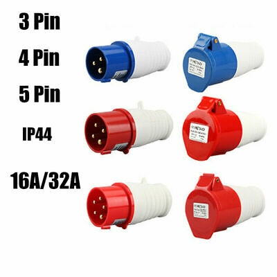 £5.99 • Buy 1pc /2pcs 16A32A 3/4/5 Pins IP44 Industrial Plugs Sockets Connectors 3 Phase