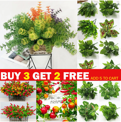 £3.89 • Buy Artificial Plastic Green Foliage Plants Flowers For Garden Home Display  Decor