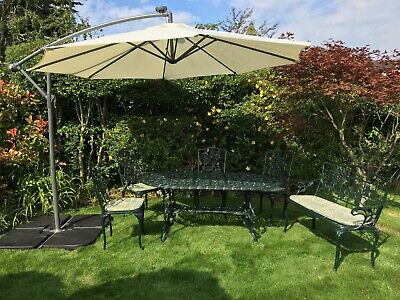 £206 • Buy Cast Aluminium Garden Table And Chairs + Bench +cushions + Canter Lever Brolly