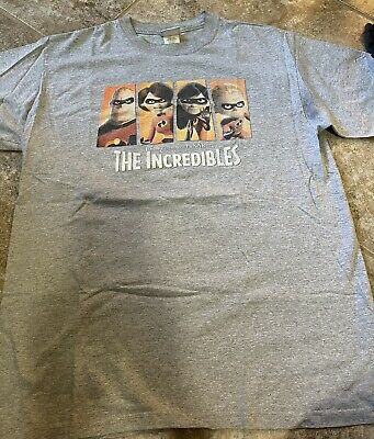 £36 • Buy The Incredibles Mens Disney Graphic T-Shirt Gray Near Vintage Movie Promo Large