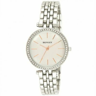 £20.99 • Buy Henley Women's Fashion Dress Rose Highlighted Diamante Watch H07309.14