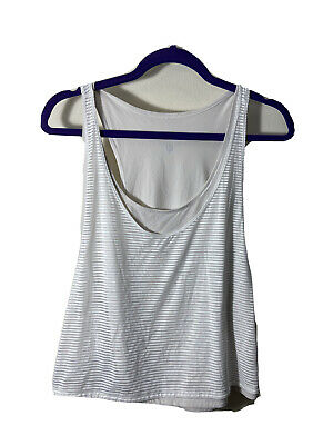 $ CDN15.11 • Buy Lululemon Lean In Crop Tank Top White Layered Mesh Relaxed Fit Size 8? Medium