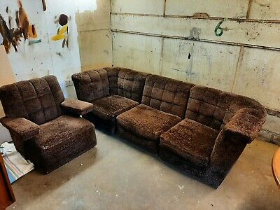 £140 • Buy Retro Modular Chocolate Brown Sofa And Chair Good Condition Possibly Heals.