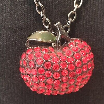 £5.99 • Buy Red Apple Pendant Iced Out Necklace By Karma
