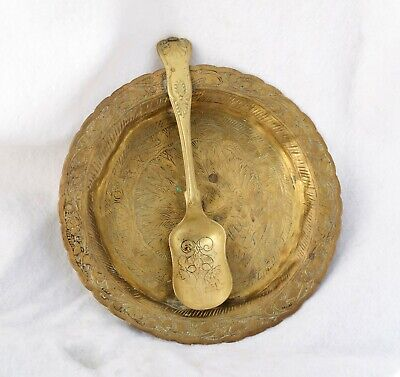 £7.50 • Buy Antique Brass Indian Plate With Spoon Attached, Bill Holder? Etched With Peacock