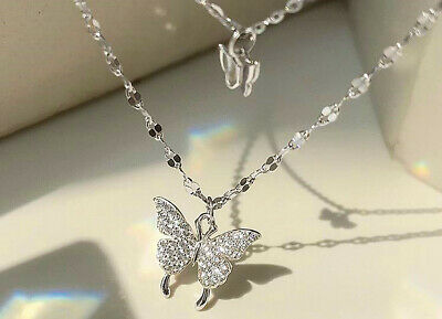 £3.49 • Buy Double Layer Butterfly Pendant 925 Sterling Silver Chain Necklace Womens Jewelry