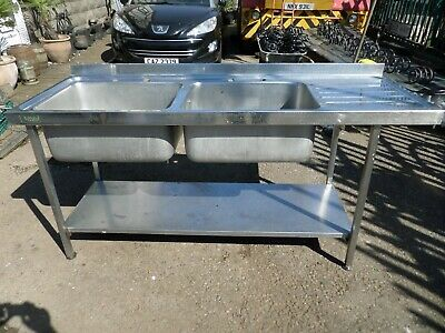 £99.99 • Buy Industrial Commercial Stainless Steel Double Sink AND DRAINER  On Stand
