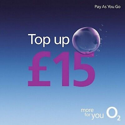 £15.95 • Buy O2 - £15 - Pay As You Go - Mobile Phone - Top Up Code / Voucher