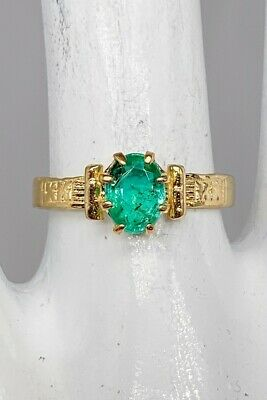 £50.90 • Buy Estate $2000 1ct Colombian Emerald 14k Yellow Gold Band Ring