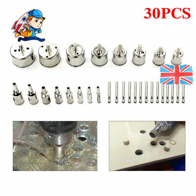 £16.89 • Buy 30 X Diamond Cutter Coated Core Hole Saw Set Holes Saw Drill Bit Tile For Glass