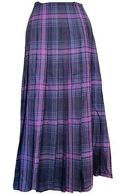 £10 • Buy Cotswold Collections Purple Tartan Pleated Skirt Size 18 Pure New Wool