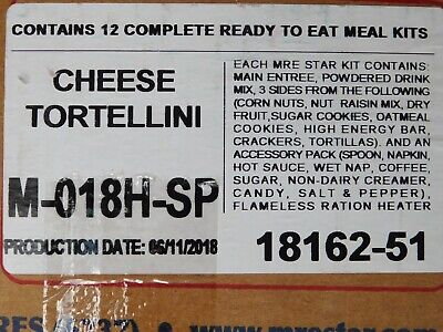 $58 • Buy 12 MEALS - Cheese Tortellini US Military MRE Star Meal Ready To Eat