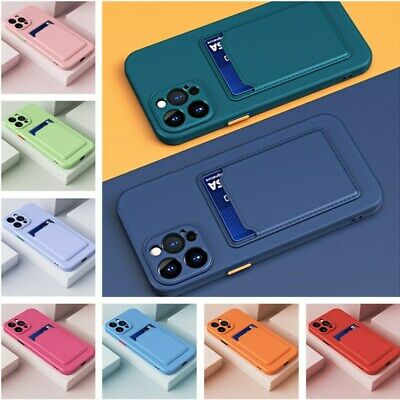 AU5.40 • Buy Card Slot Soft Silicone Case Cover For IPhone 11 12 Pro Max XS XR 8 7 Plus SE 2