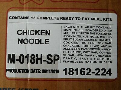 $58 • Buy 12 MEALS -  Chicken Noodle US Military MRE Star Meal Ready To Eat